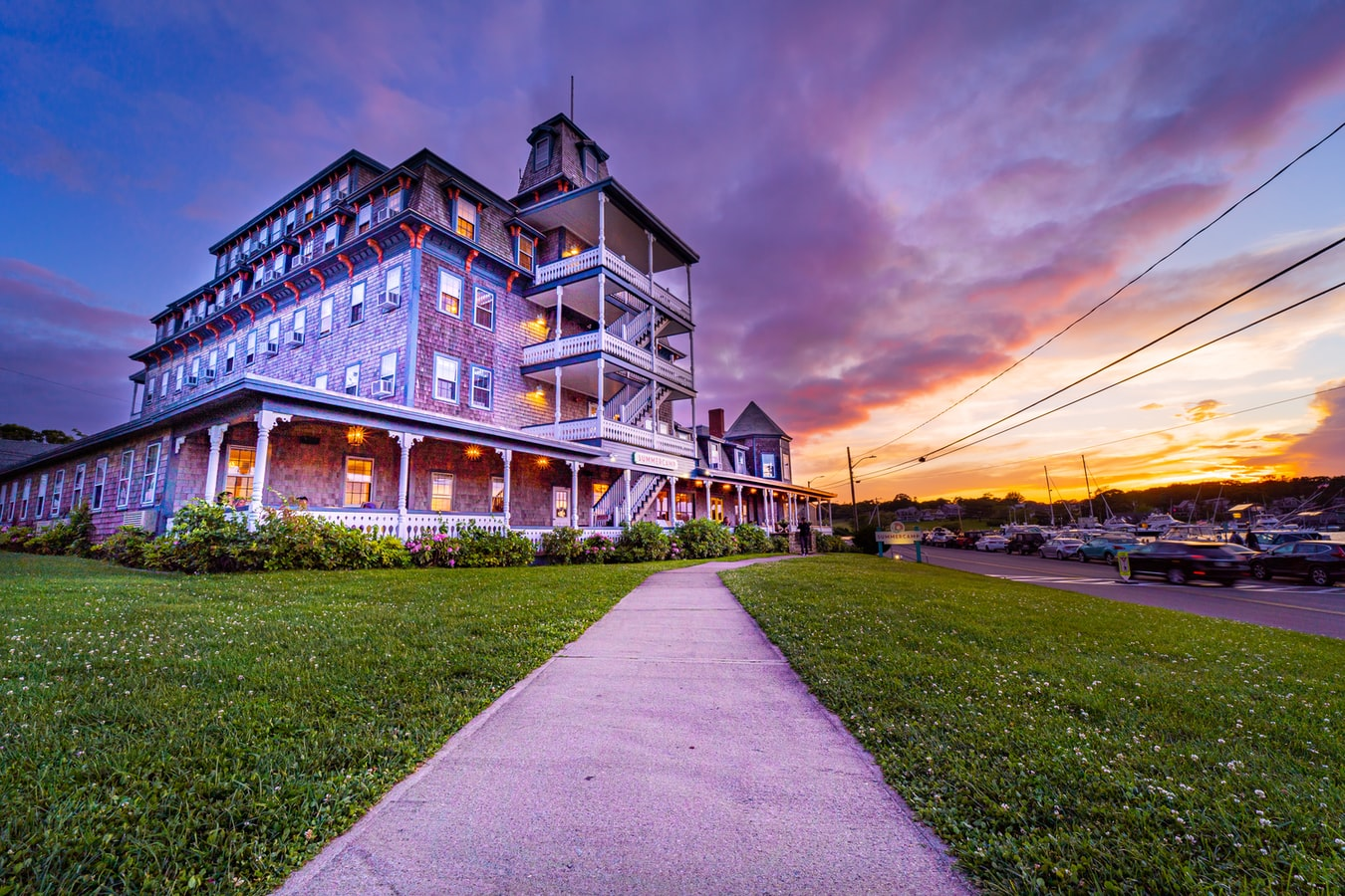 Building with sunset in Martha's Vineyard, MA