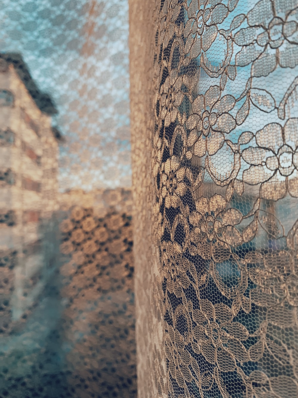 brown and black floral textile