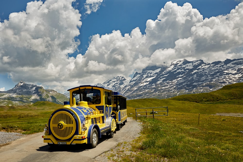 yellow and black bus on green grass field under white clouds and blue sky during daytime