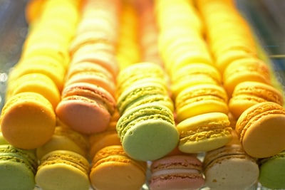 yellow and white french macaroons confectionery zoom background