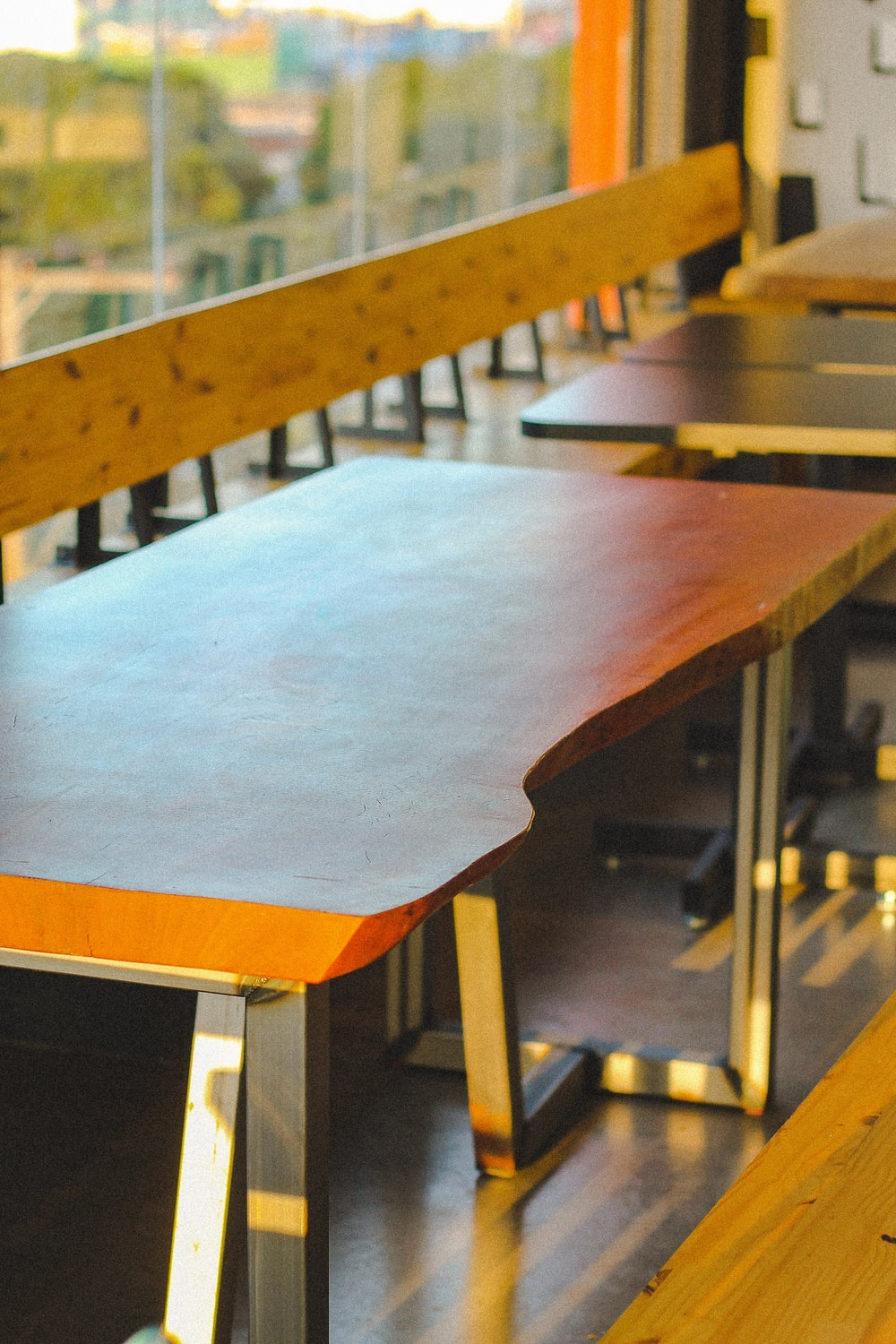 blue wooden table with chairs
