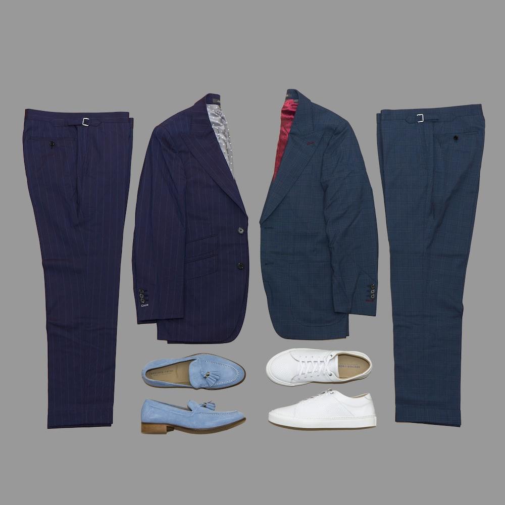black blazer and white pants