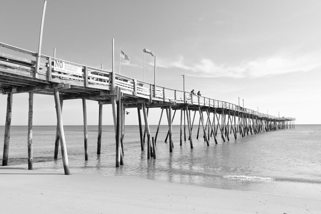 Picture of Avelon pier.  The pier starts from the left side and leads the eye into the scene all the till the end of the pier on the right side.