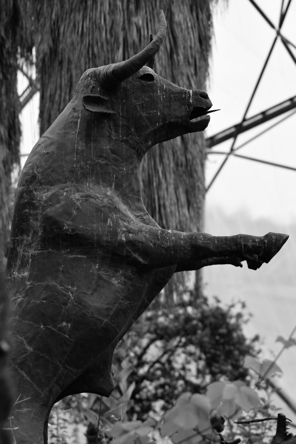 grayscale photo of horse statue
