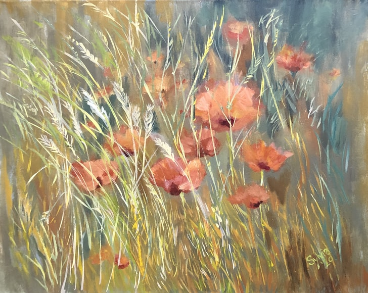 flower painting-daisies-floral art-interiors