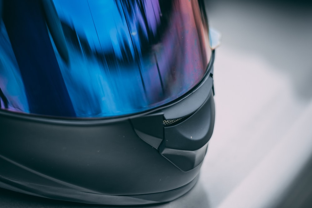 blue and black motorcycle helmet