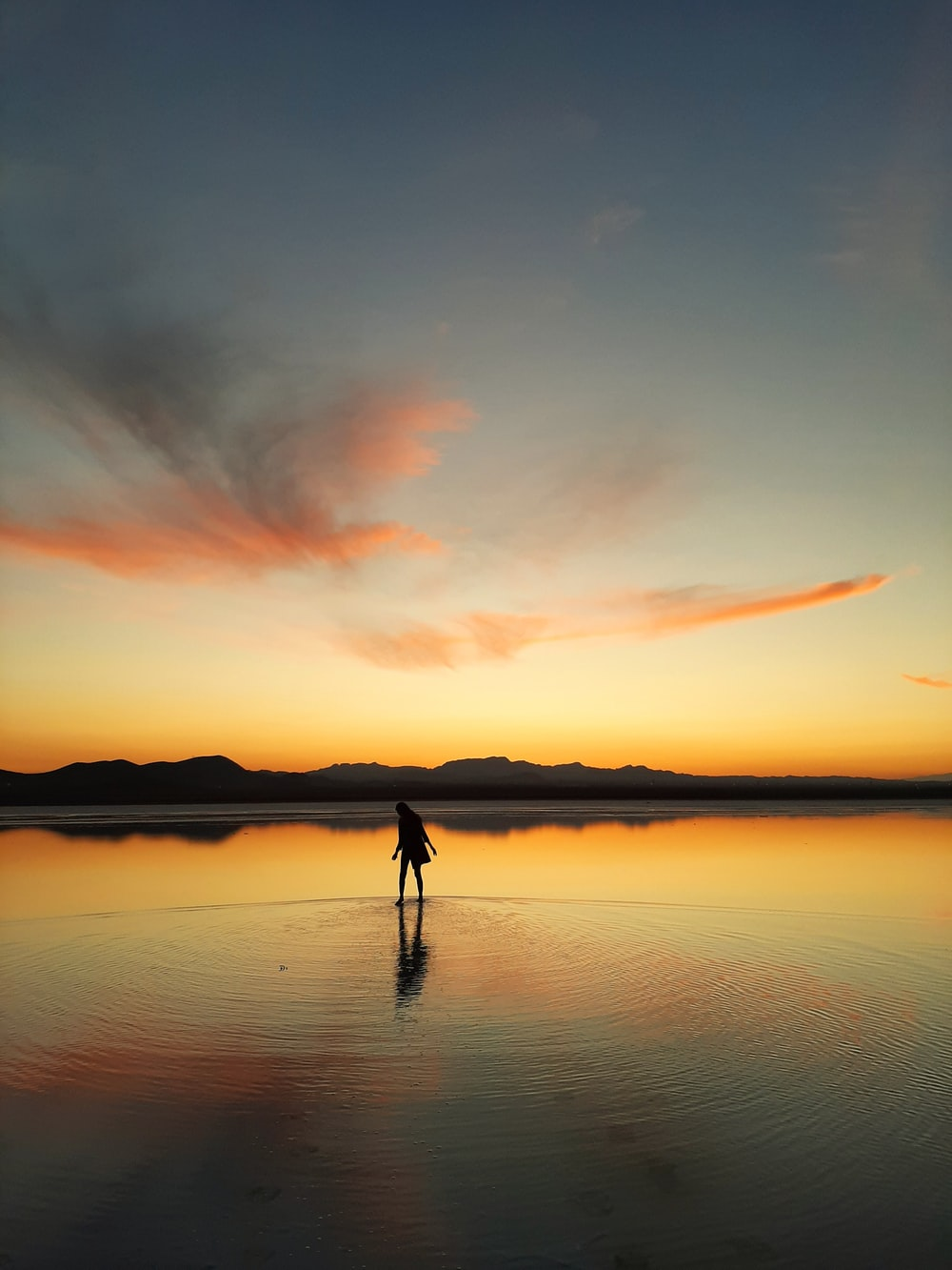 silhouette of 2 person on body of water during sunset