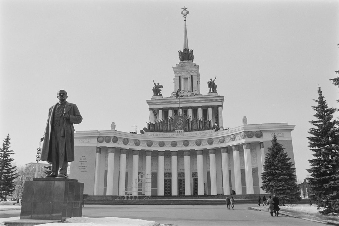 A statue of Lenin in front of the Central Pavilion at the Exhibition of Achievements of National Economy (VDNKh), later known as the All-Russia Exhibition Centre, in Moscow's Ostankinsky District, 1988.