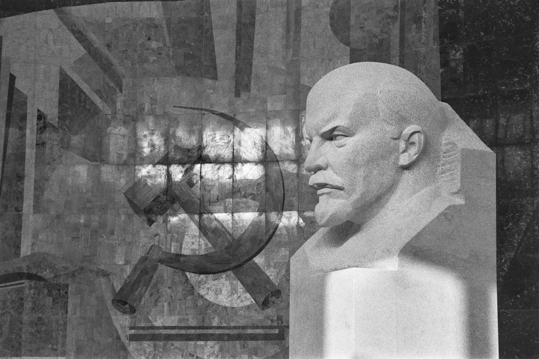 A bust of Lenin and a mosaic of the hammer and sickle inside the Moscow Palace of Youth (Moskovskogo Dvortsa Molodezhi, or MDM) shortly before it opened to the public in 1988. A two-year reconstruction of the building, a significant example of Soviet Modernism, was planned to begin in spring 2020.