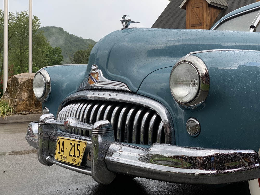 blue and silver vintage car
