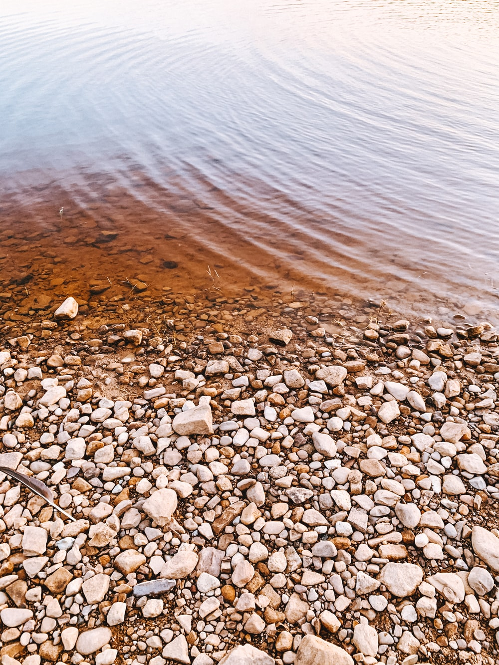 brown and white stones near body of water during daytime