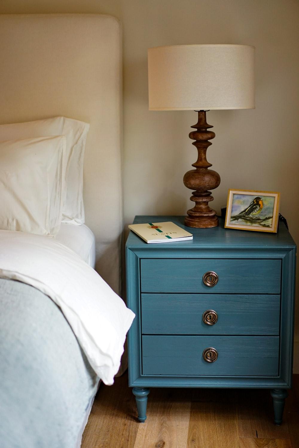 brown wooden 2 drawer nightstand