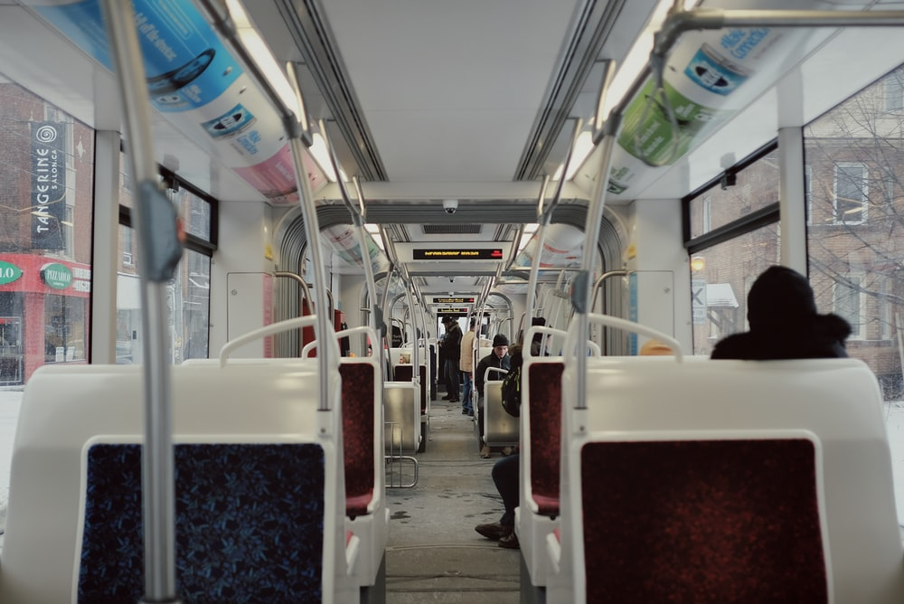 white and blue train seats