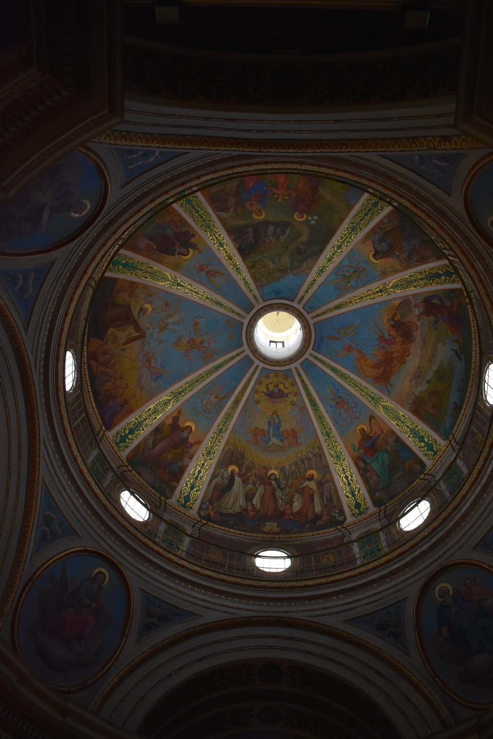blue and brown dome ceiling