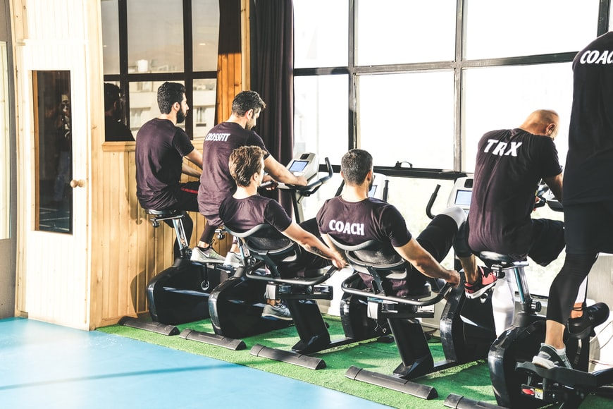 Stationary bike can be set up at gym or home