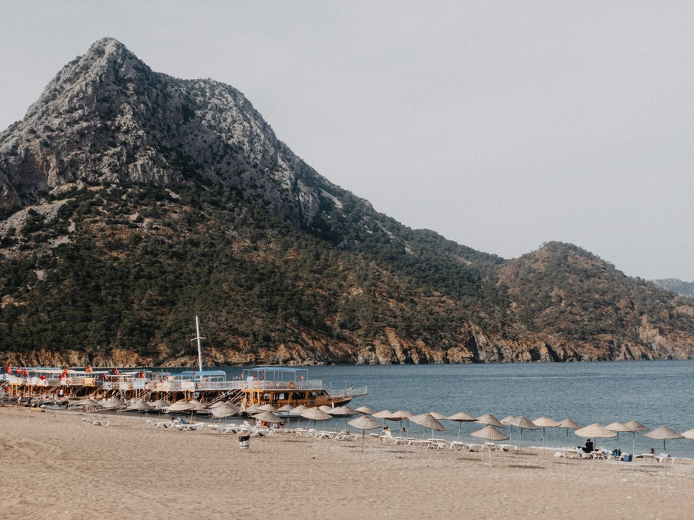 people on beach near mountain during daytime