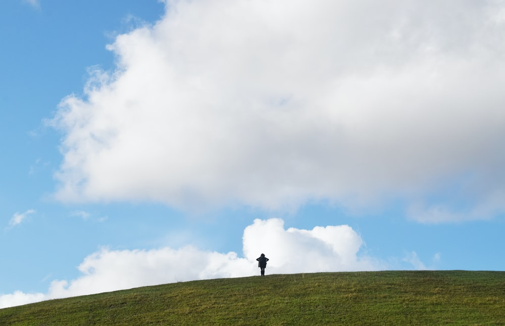 person standing on green grass field under white clouds during daytime