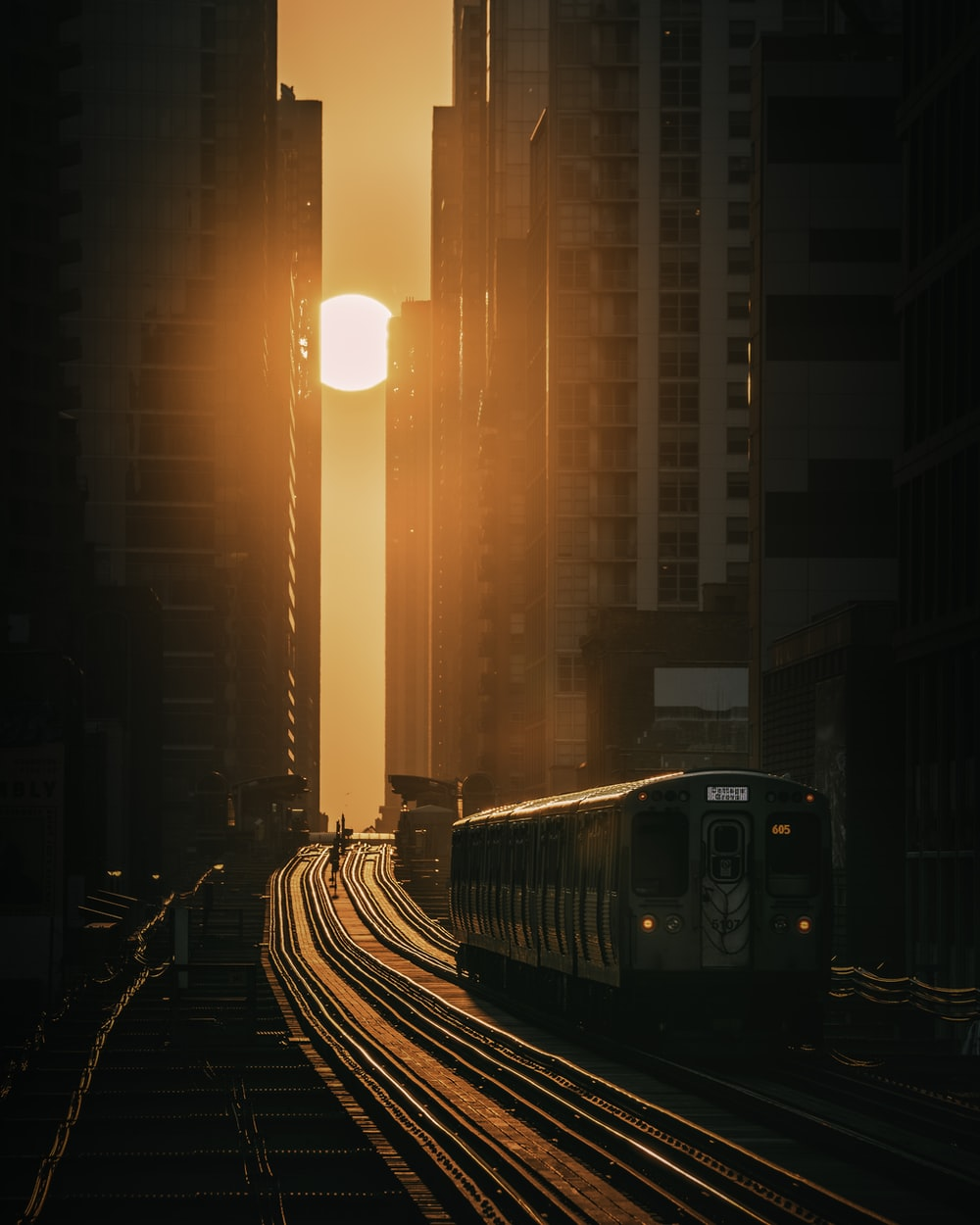 train on rail road during night time