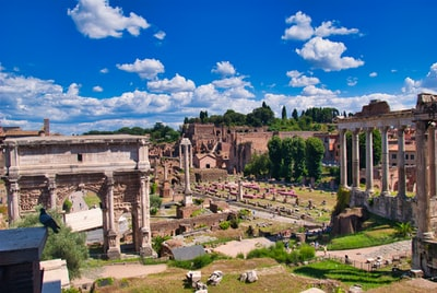 architecture, building, ruins and roma - brown concrete building under blue sky during daytime photo