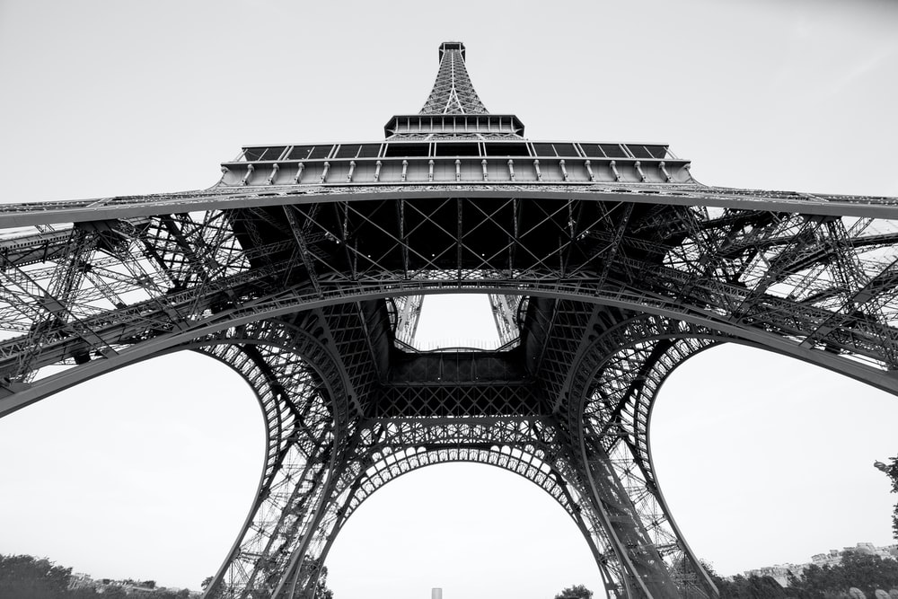 grayscale photo of eiffel tower