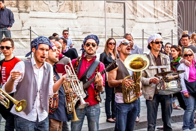 Bologna group of people holding musical instruments