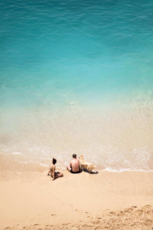 2 men sitting on beach during daytime