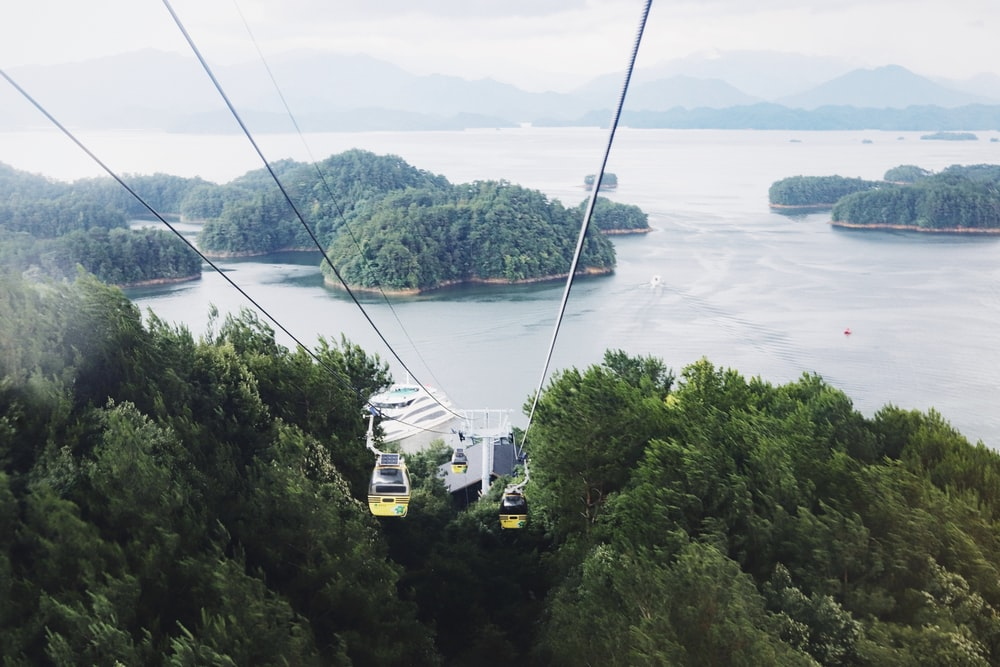 white cable car over green trees and body of water during daytime
