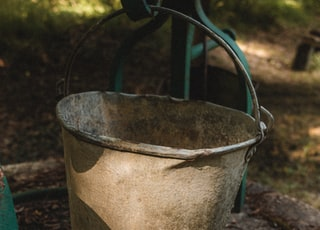 stainless steel bucket with water