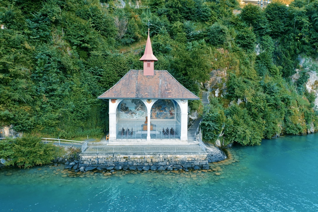 Tellsplatte, recorded with the DJI Mavic 2 Pro Hasselblad  In the picture you can see the Tell Curch. It is located near Sisikon at Lake Lucerne. Edited in Affinity Photo.