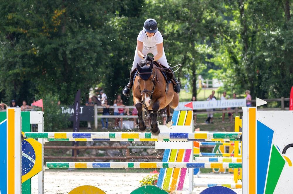man riding brown horse during daytime