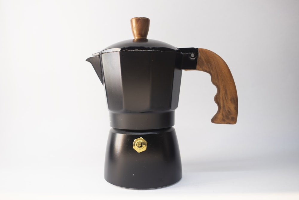 black and brown coffee pot