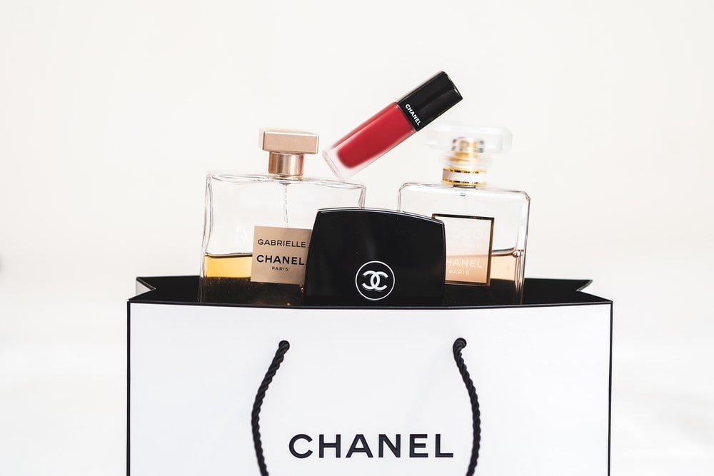 black and pink perfume bottle