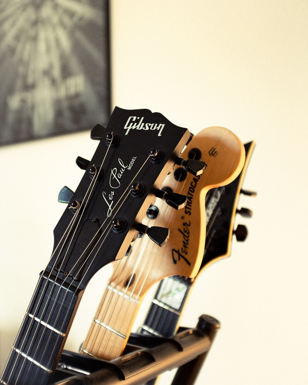 brown and black guitar headstock