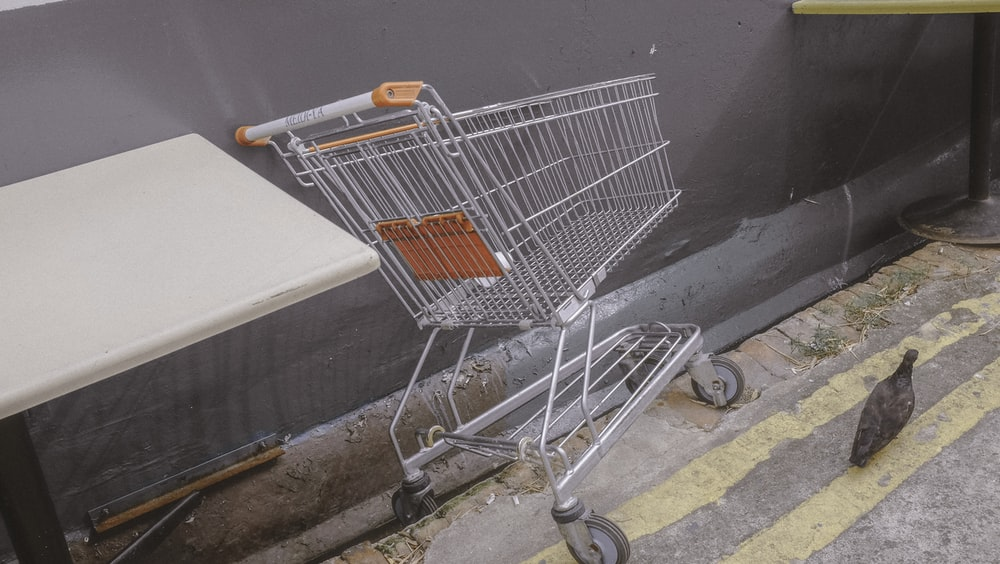 stainless steel shopping cart on gray concrete floor