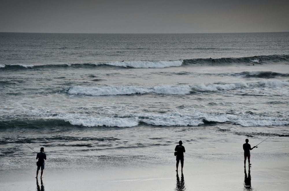 silhouette of person standing on seashore during daytime