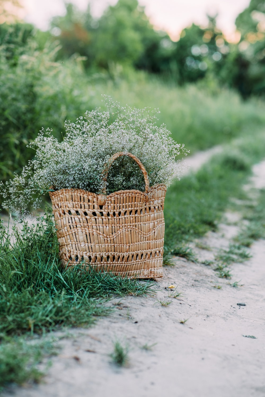 brown woven basket on green grass field