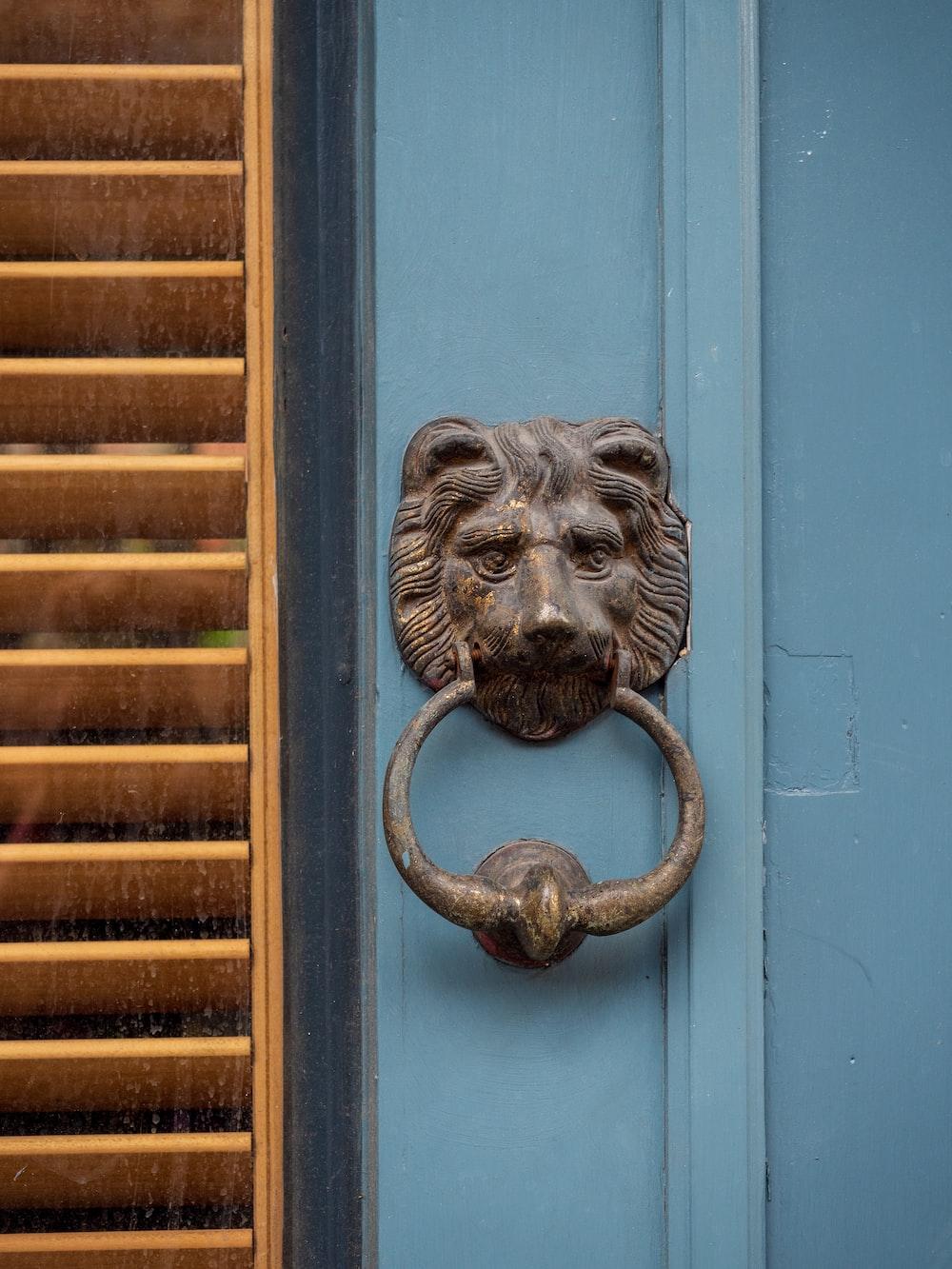 grey lion door handle on blue wooden door