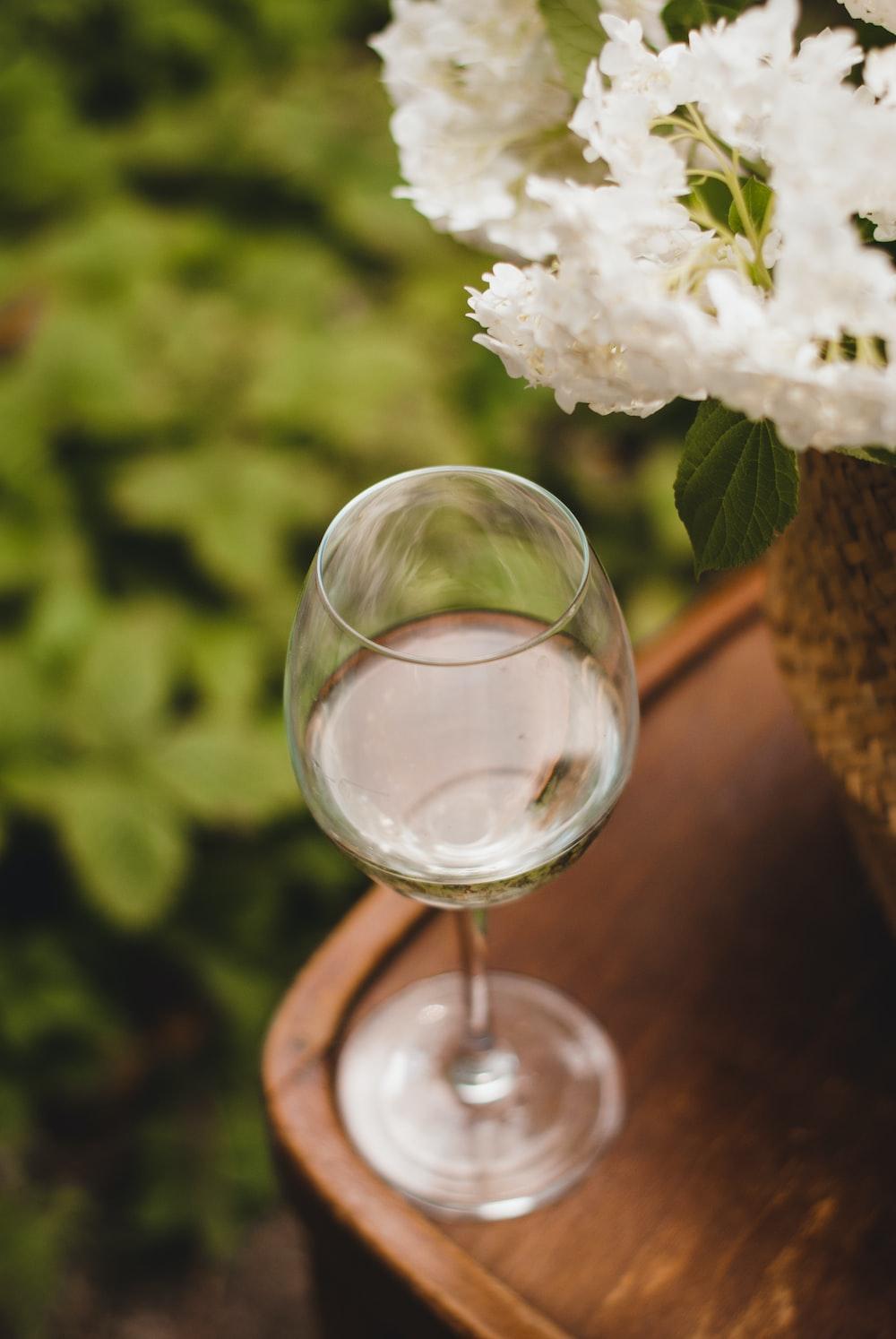 white flower on clear glass vase