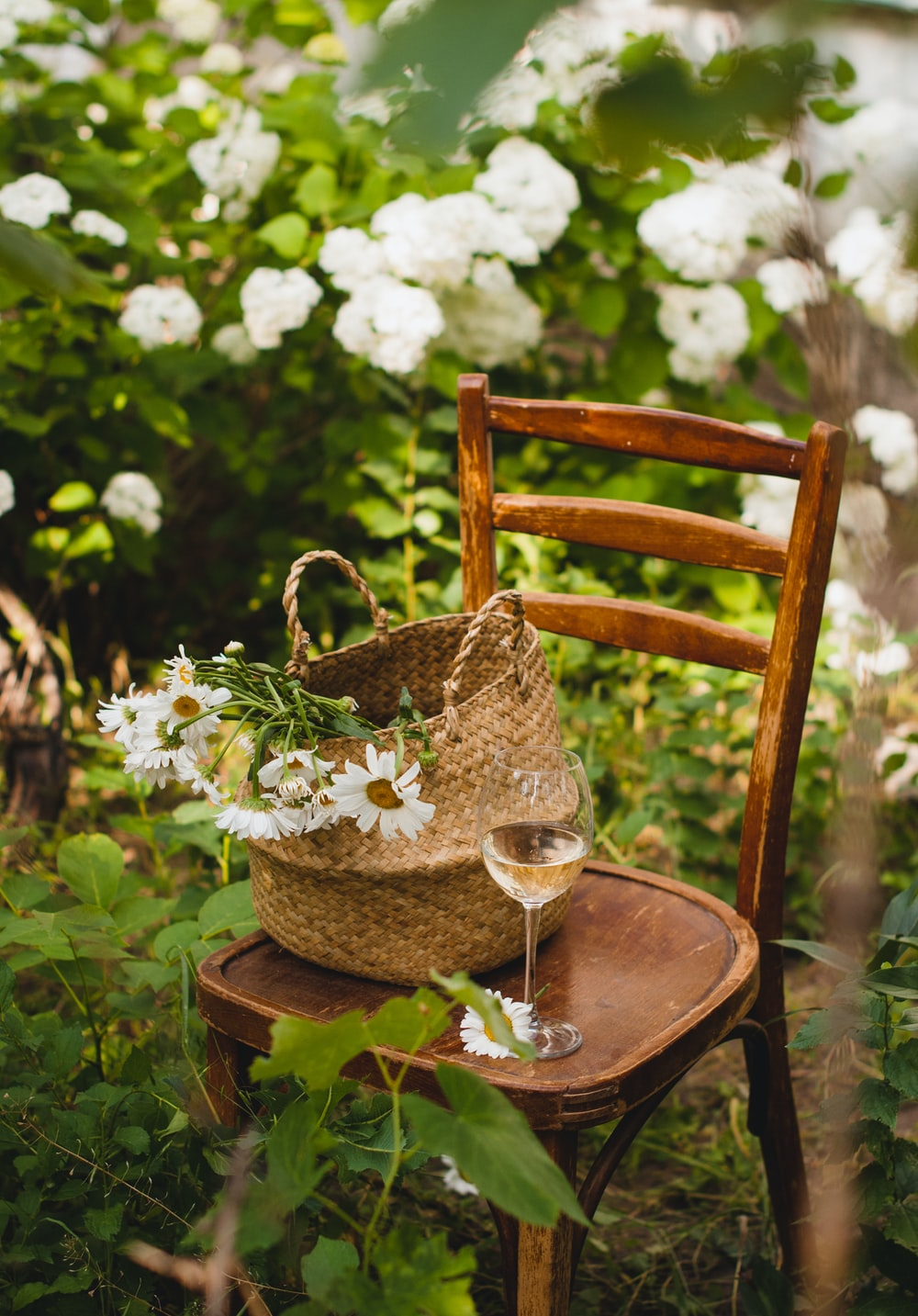 white flowers in brown woven basket on brown wooden table