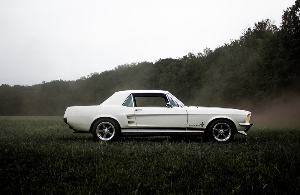 white coupe on green grass field during daytime