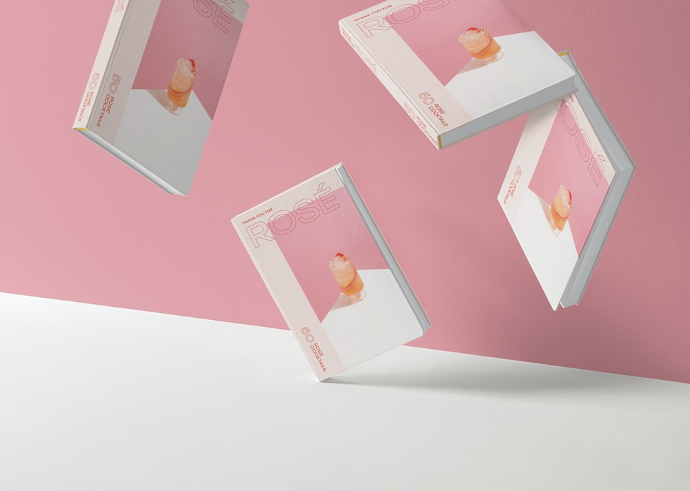 pink and white photo frame