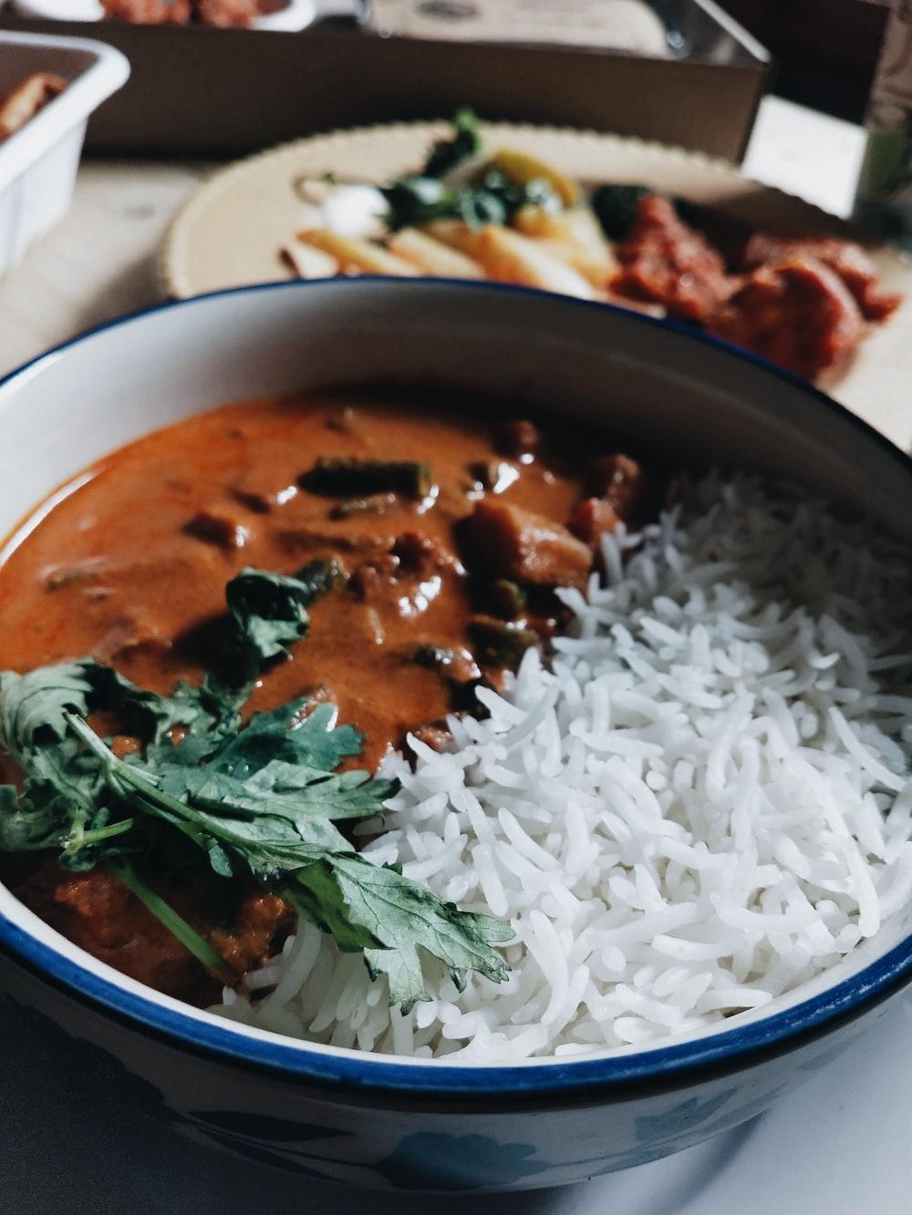 rice on white ceramic bowl