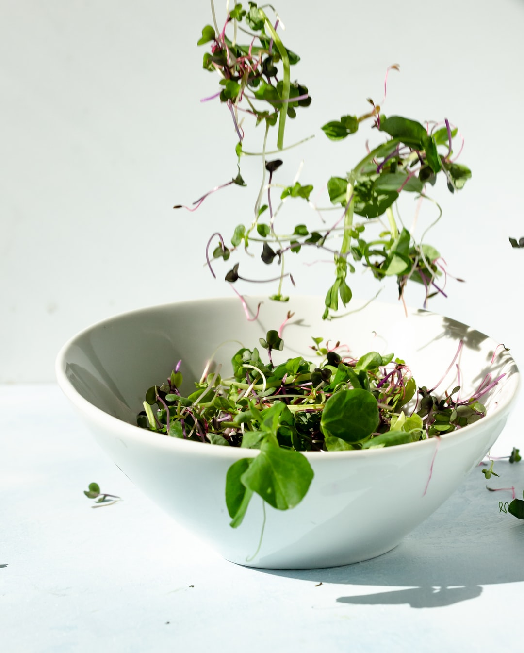 Micro greens falling into a bowl