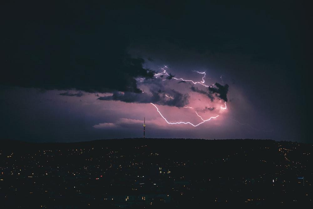 lightning strike on black clouds