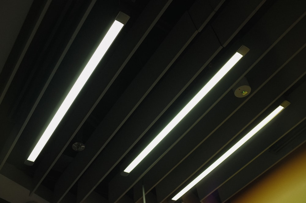white ceiling with white fluorescent lamp