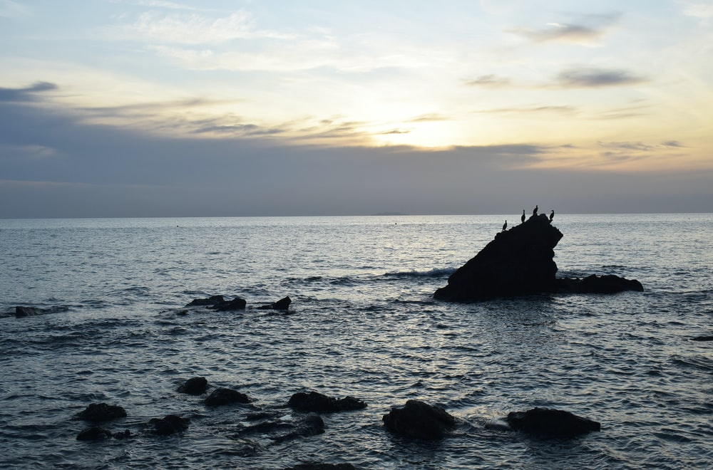 silhouette of person on rock formation on sea during sunset