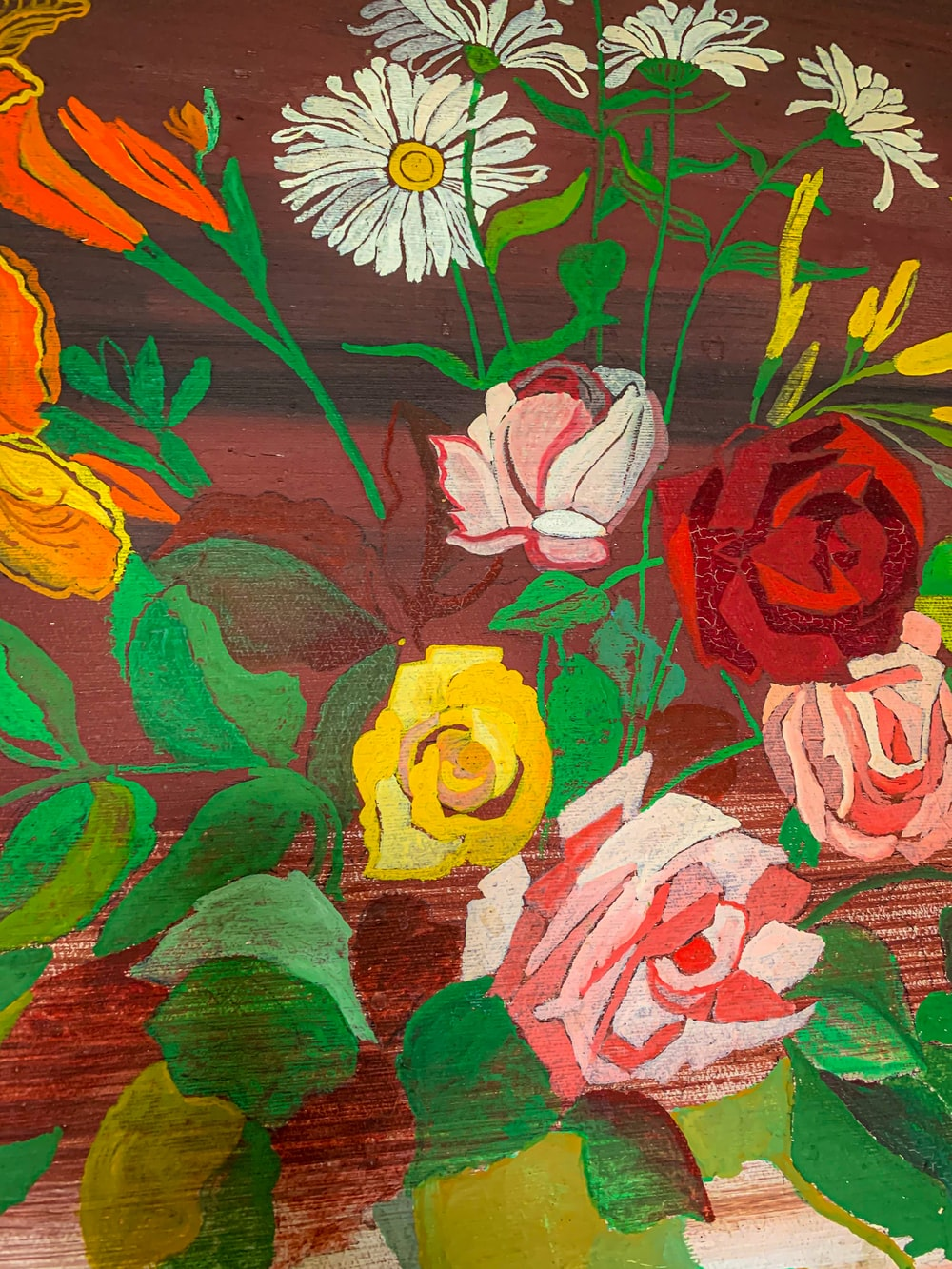 red yellow and white flower painting