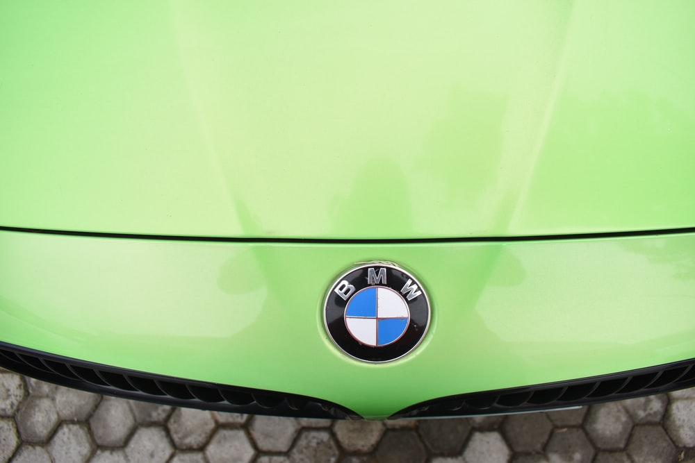 green and silver car hood