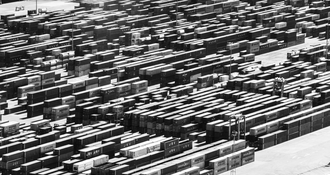 Shipping containers waiting in the docks of Barcelona, Spain