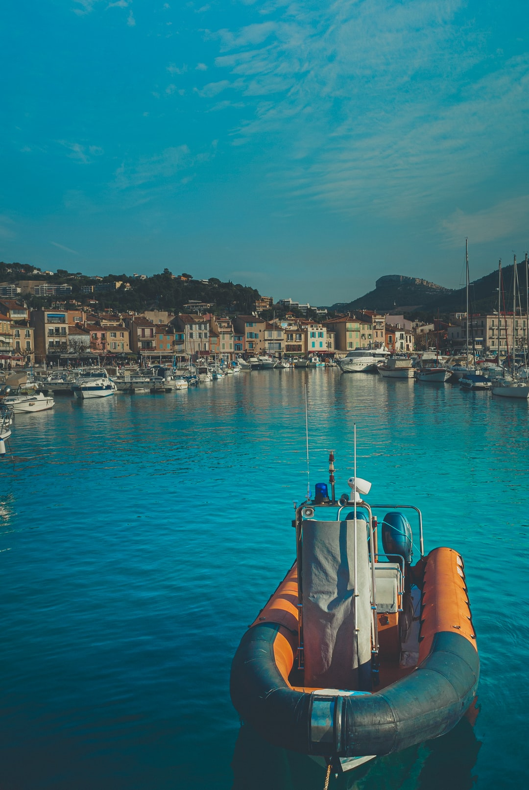 The port in the city of Cassis, France. It's a small and pleasant town — quiet, atmospheric and picturesque.